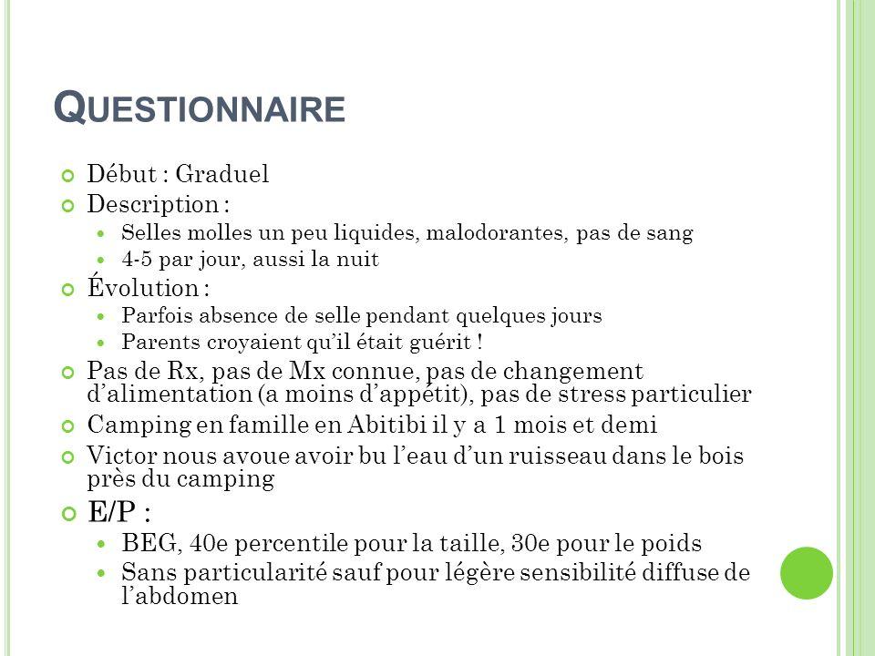 Questionnaire E/P : Début : Graduel Description : Évolution :