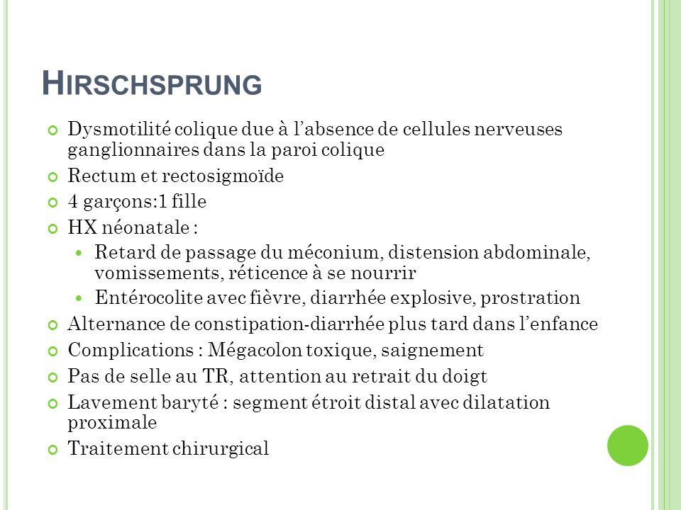 Hirschsprung Dysmotilité colique due à l'absence de cellules nerveuses ganglionnaires dans la paroi colique.