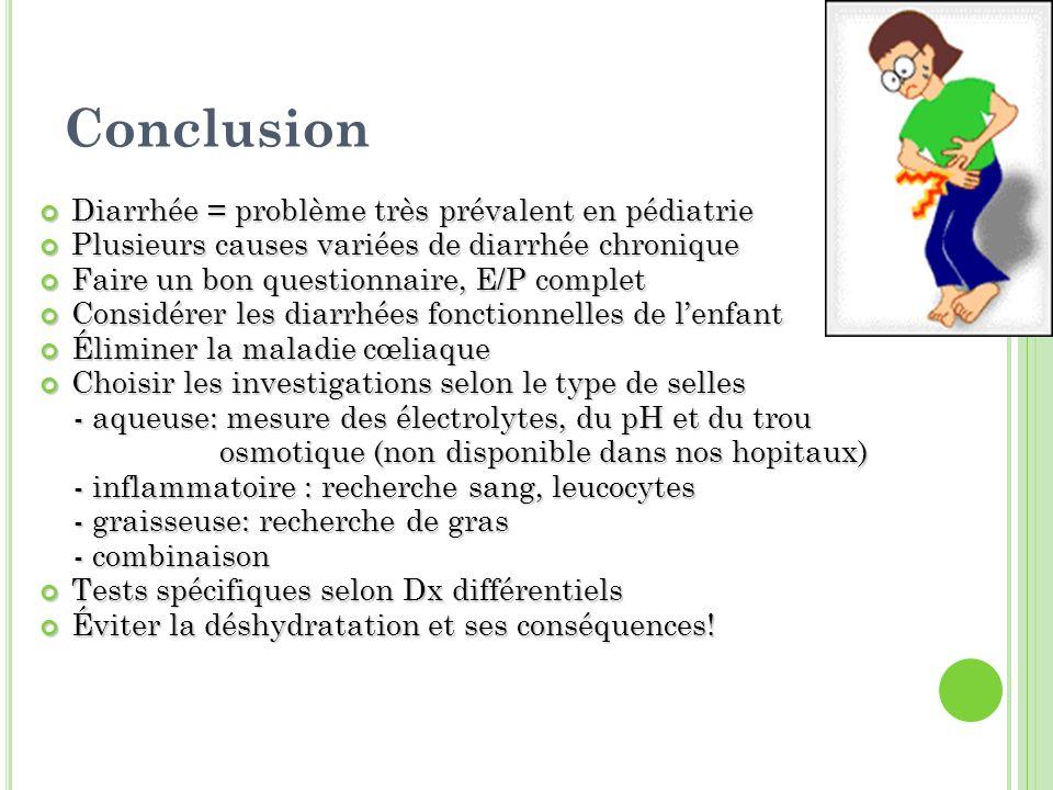 Conclusion Diarrhée = problème très prévalent en pédiatrie