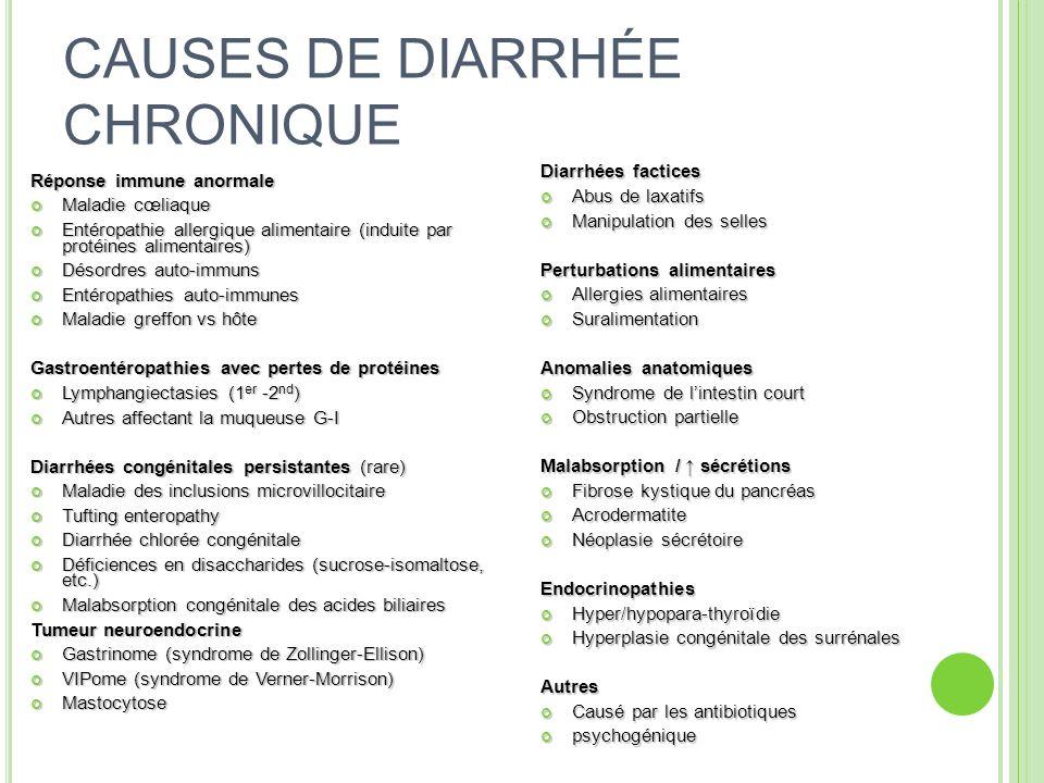 CAUSES DE DIARRHÉE CHRONIQUE