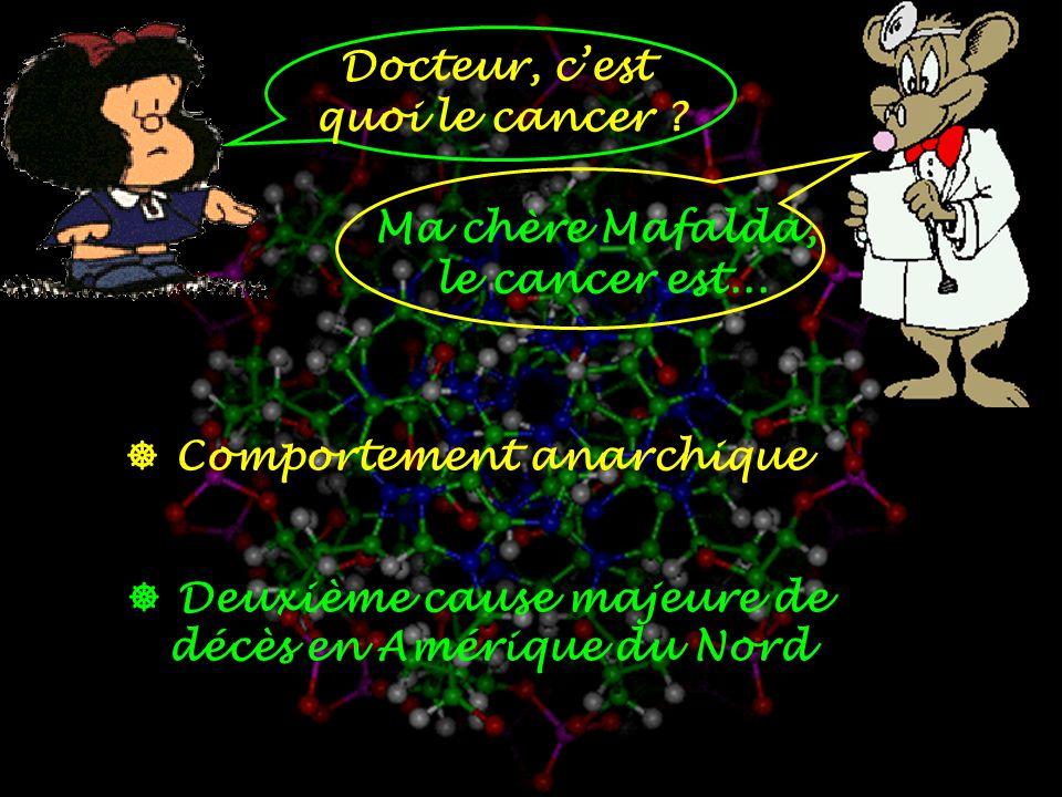 Docteur, c'est quoi le cancer Ma chère Mafalda, le cancer est...  Comportement anarchique.  Deuxième cause majeure de.