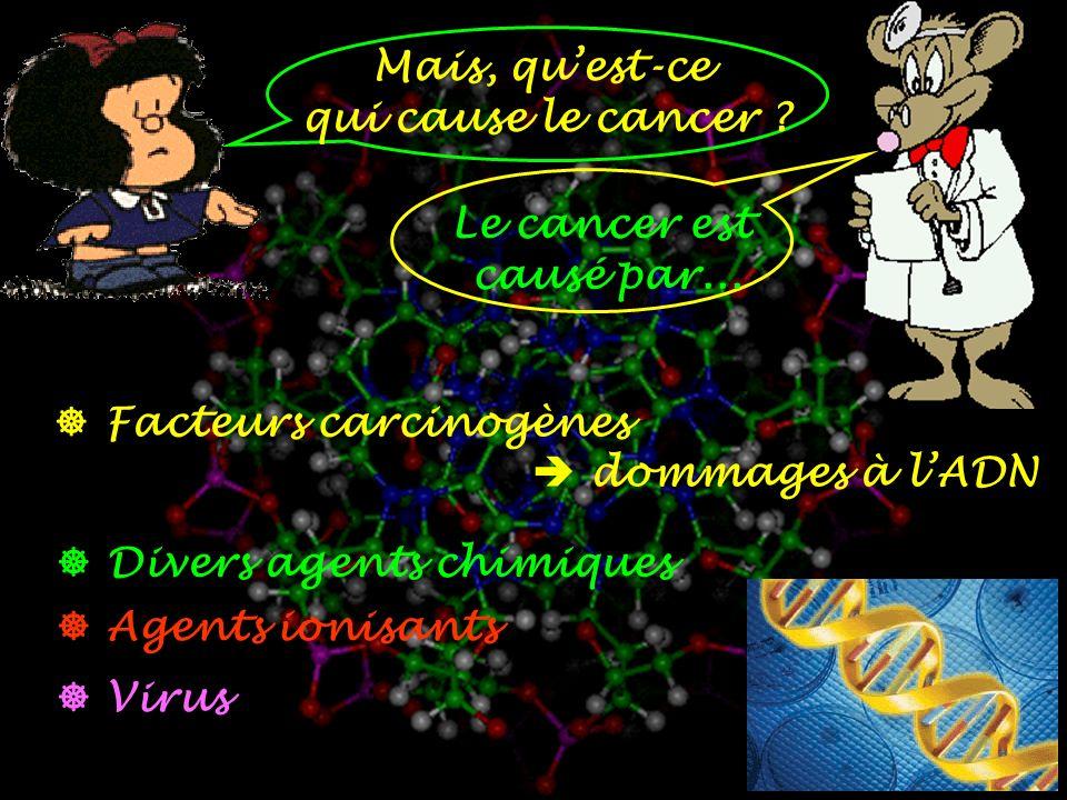 Mais, qu'est-ce qui cause le cancer Le cancer est. causé par...  Facteurs carcinogènes.  dommages à l'ADN.