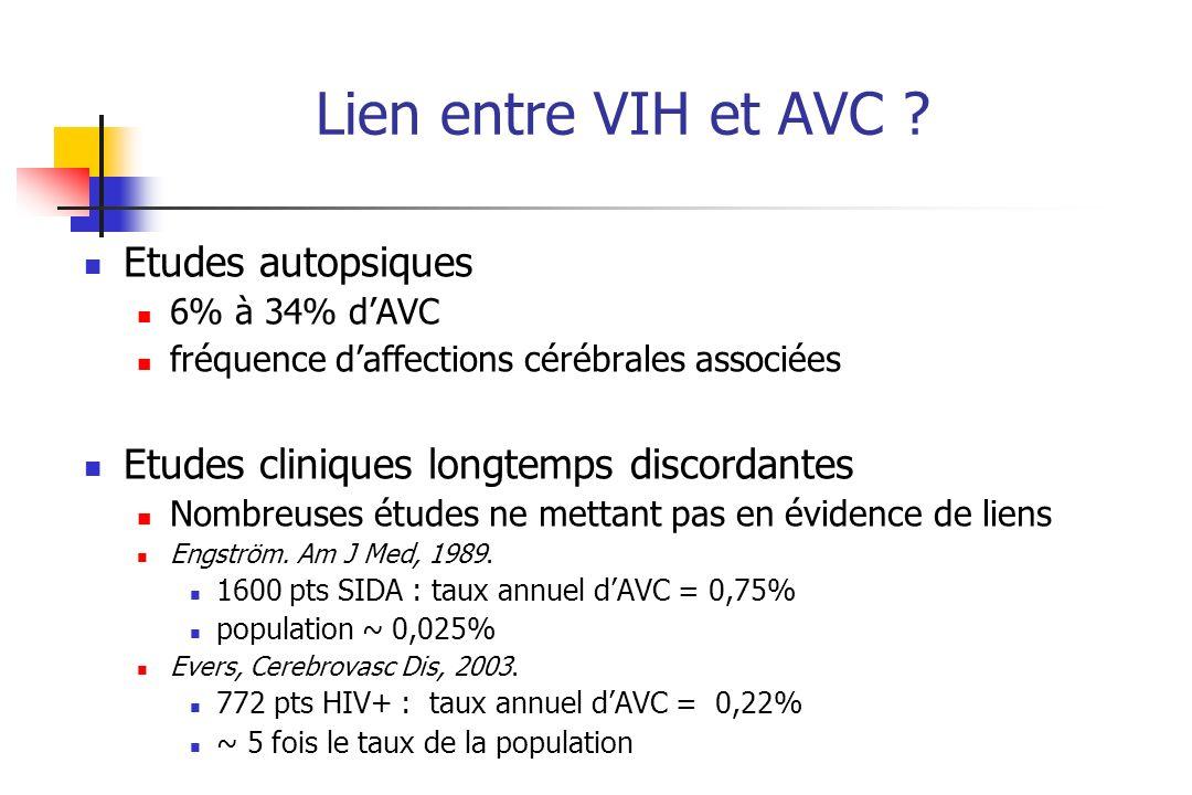 Lien entre VIH et AVC Etudes autopsiques