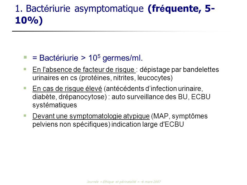 1. Bactériurie asymptomatique (fréquente, 5-10%)