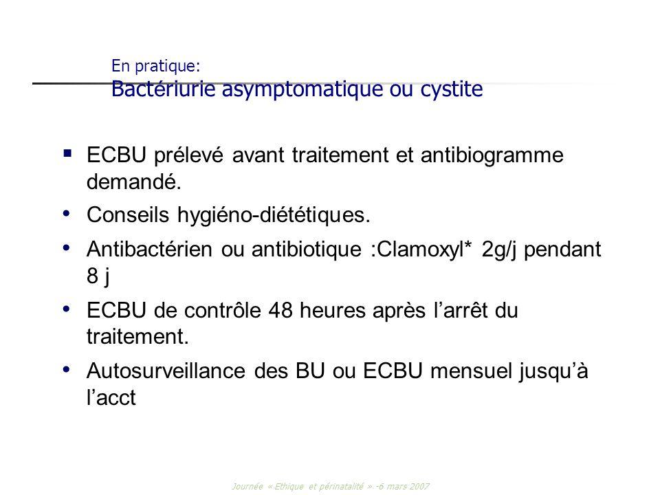 En pratique: Bactériurie asymptomatique ou cystite