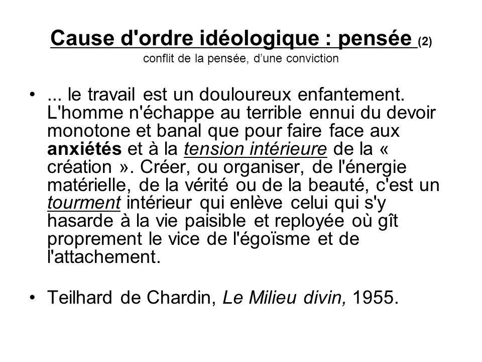 Cause d ordre idéologique : pensée (2) conflit de la pensée, d'une conviction