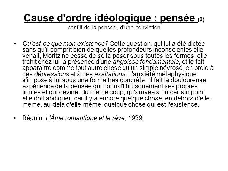 Cause d ordre idéologique : pensée (3) conflit de la pensée, d'une conviction