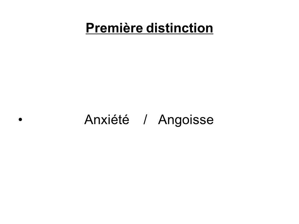 Première distinction Anxiété / Angoisse