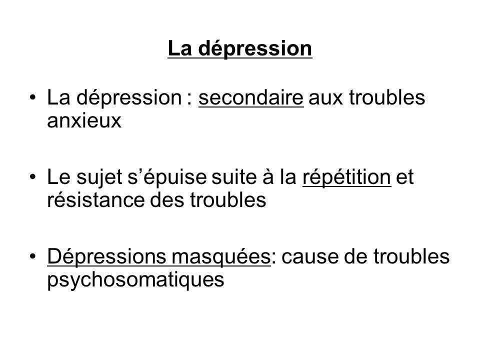 La dépression La dépression : secondaire aux troubles anxieux. Le sujet s'épuise suite à la répétition et résistance des troubles.