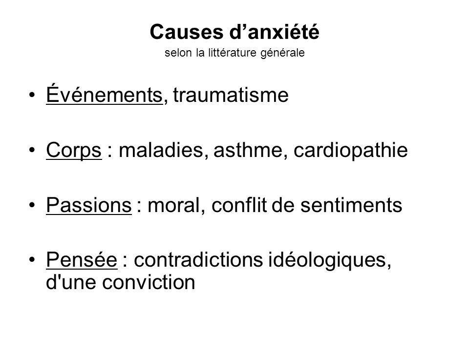 Causes d'anxiété selon la littérature générale