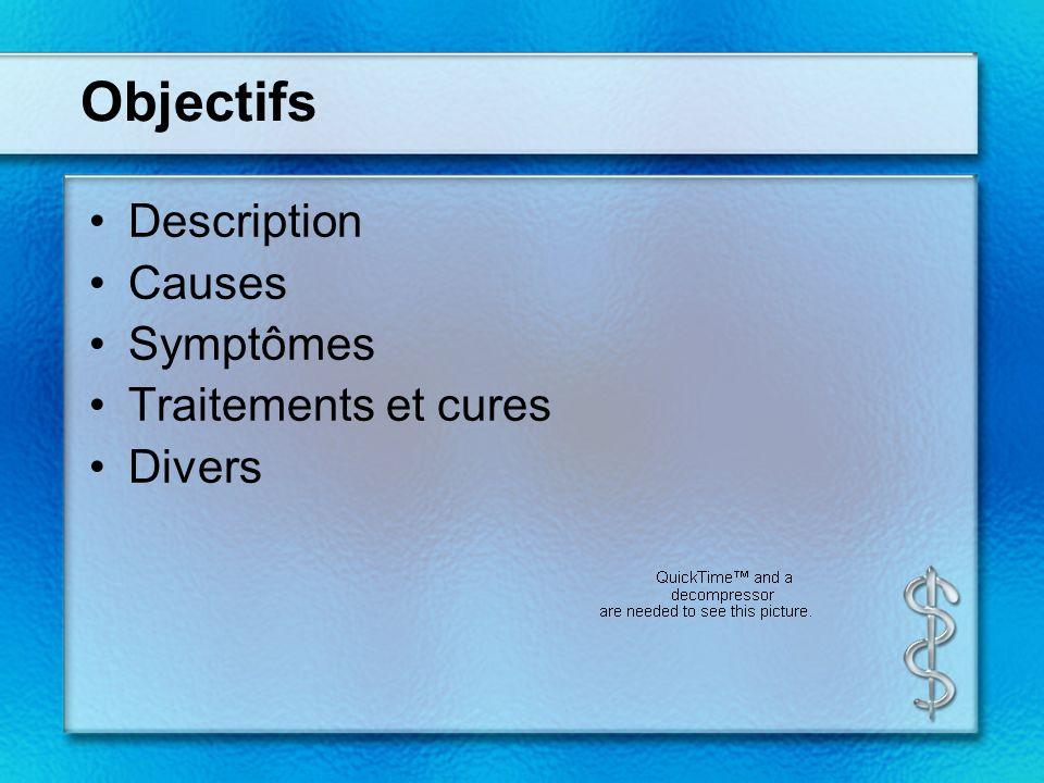 Objectifs Description Causes Symptômes Traitements et cures Divers