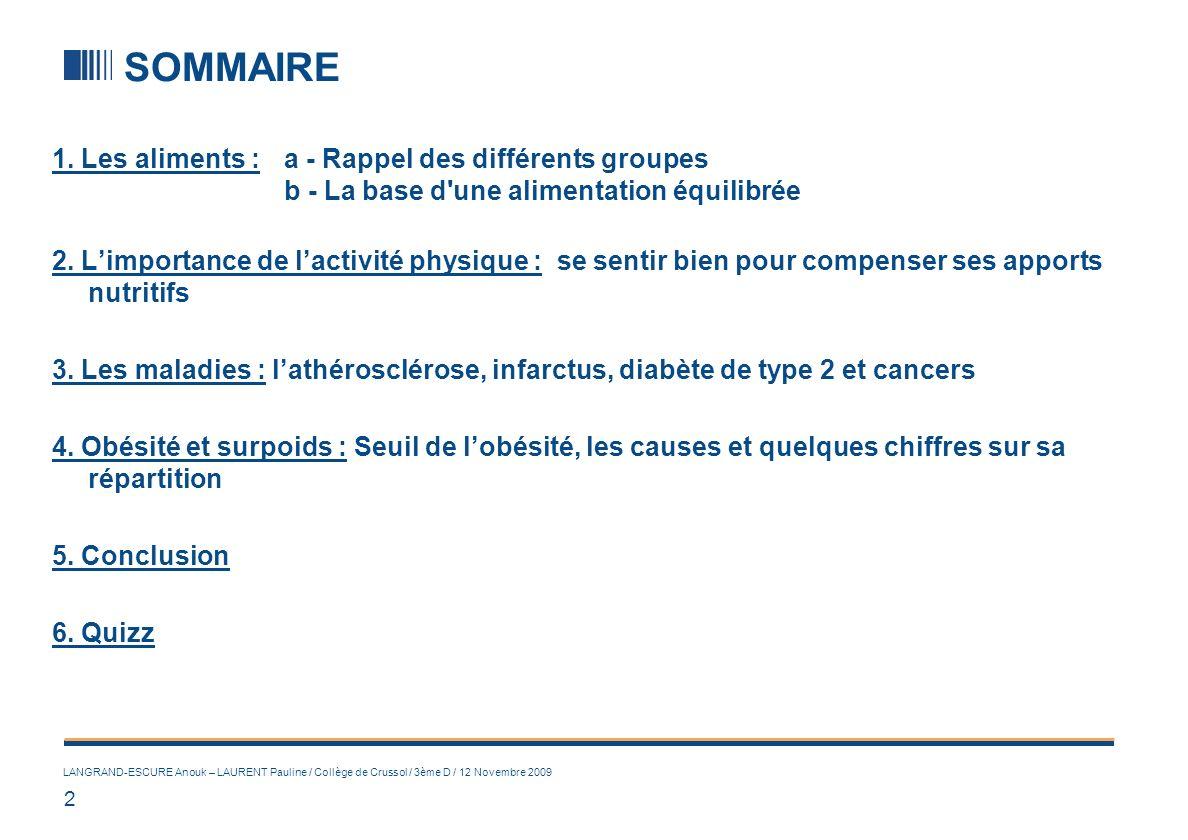 1. LES ALIMENTS (1/2) a) LES GROUPES ALIMENTAIRES :
