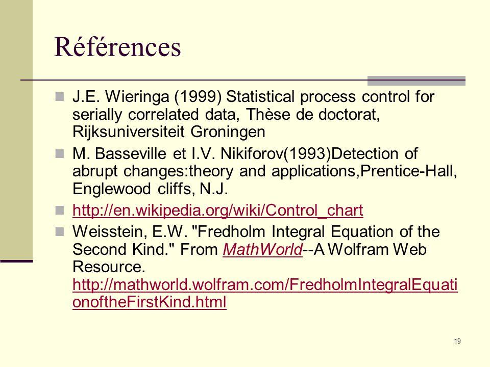 Références J.E. Wieringa (1999) Statistical process control for serially correlated data, Thèse de doctorat, Rijksuniversiteit Groningen.