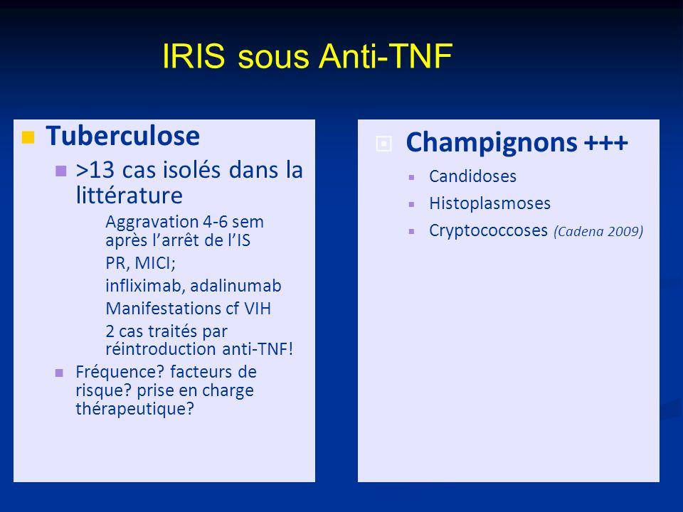 IRIS sous Anti-TNF Tuberculose Champignons +++