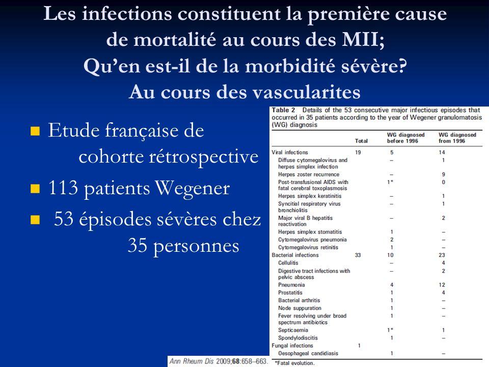 Les infections constituent la première cause de mortalité au cours des MII; Qu'en est-il de la morbidité sévère Au cours des vascularites
