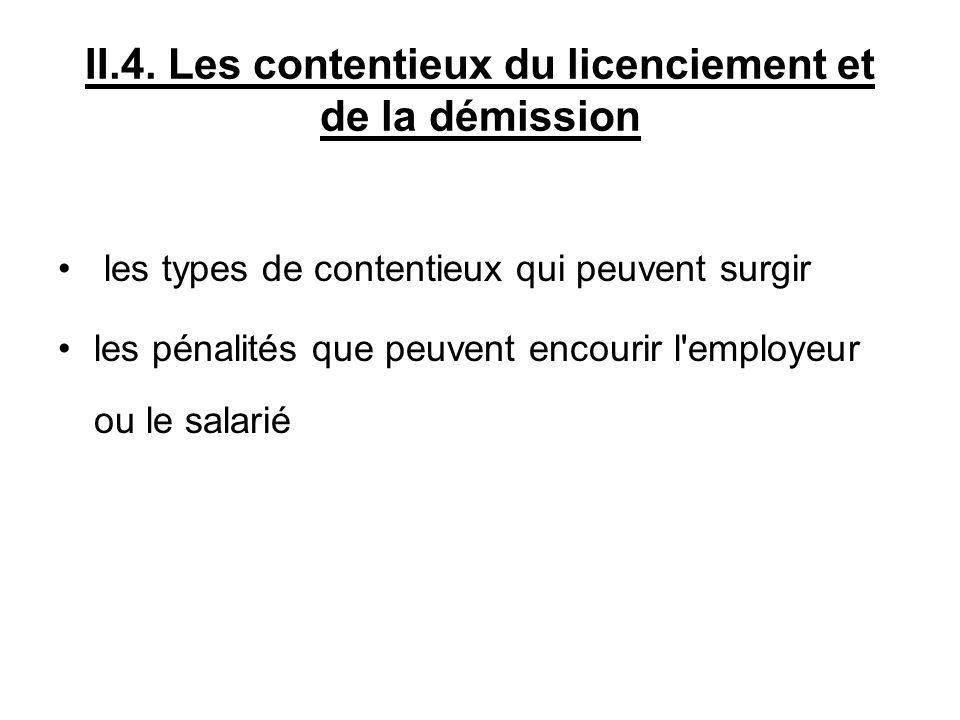 II.4. Les contentieux du licenciement et de la démission