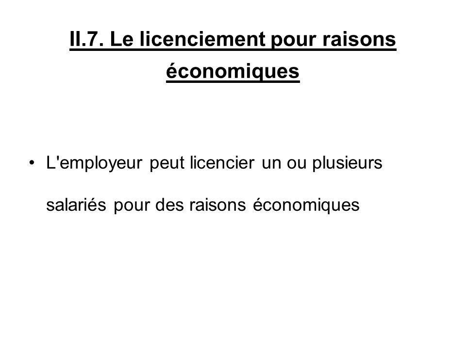 II.7. Le licenciement pour raisons économiques