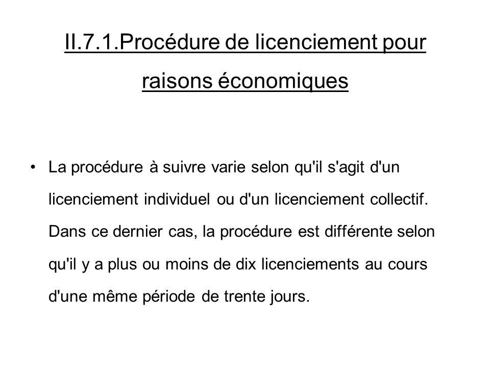 II.7.1.Procédure de licenciement pour raisons économiques