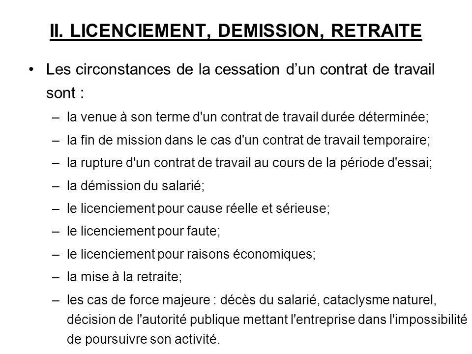 II. LICENCIEMENT, DEMISSION, RETRAITE
