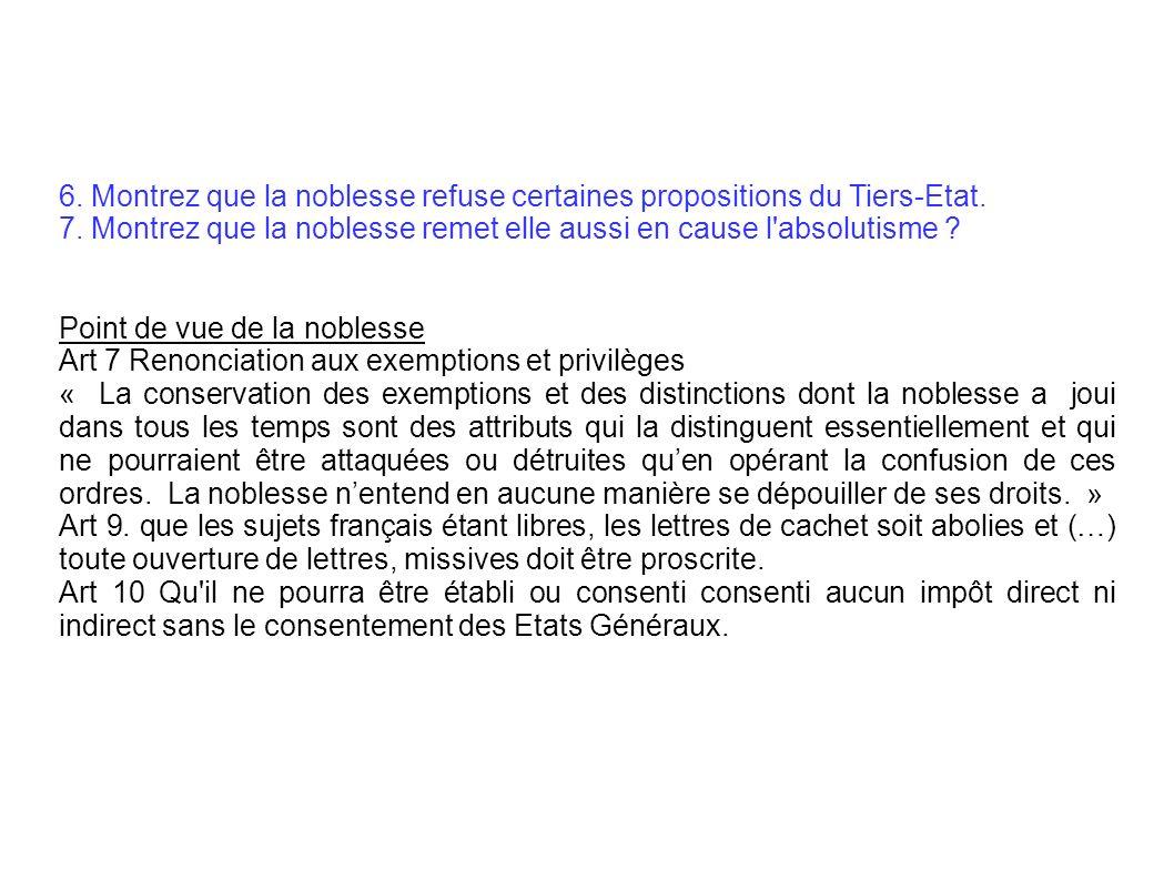 6. Montrez que la noblesse refuse certaines propositions du Tiers-Etat.