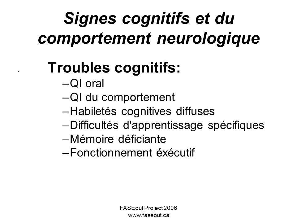 Signes cognitifs et du comportement neurologique
