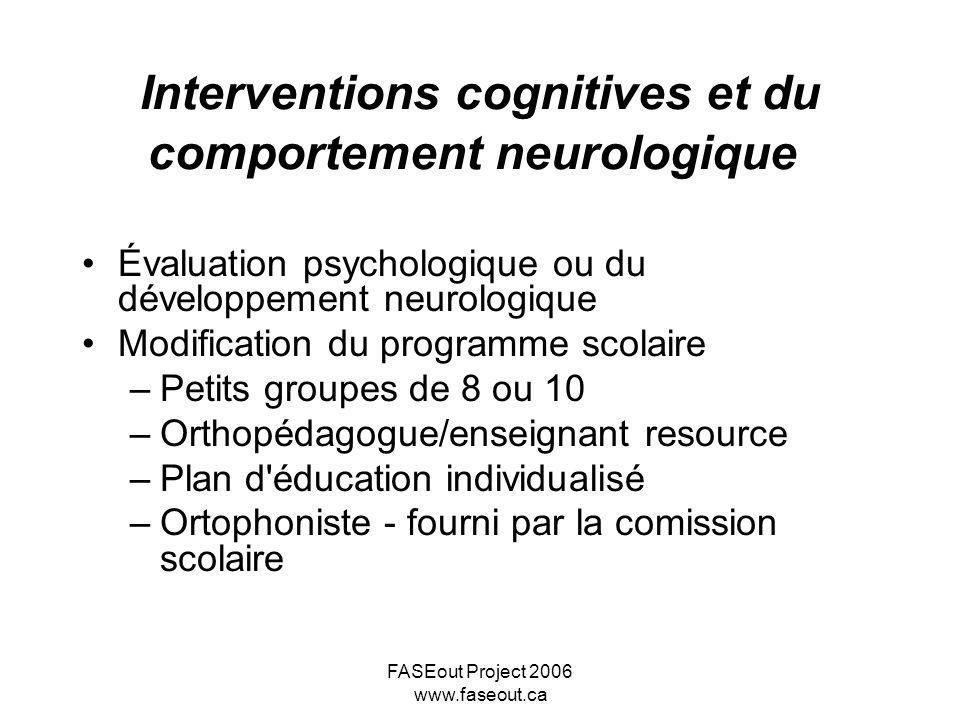 Interventions cognitives et du comportement neurologique