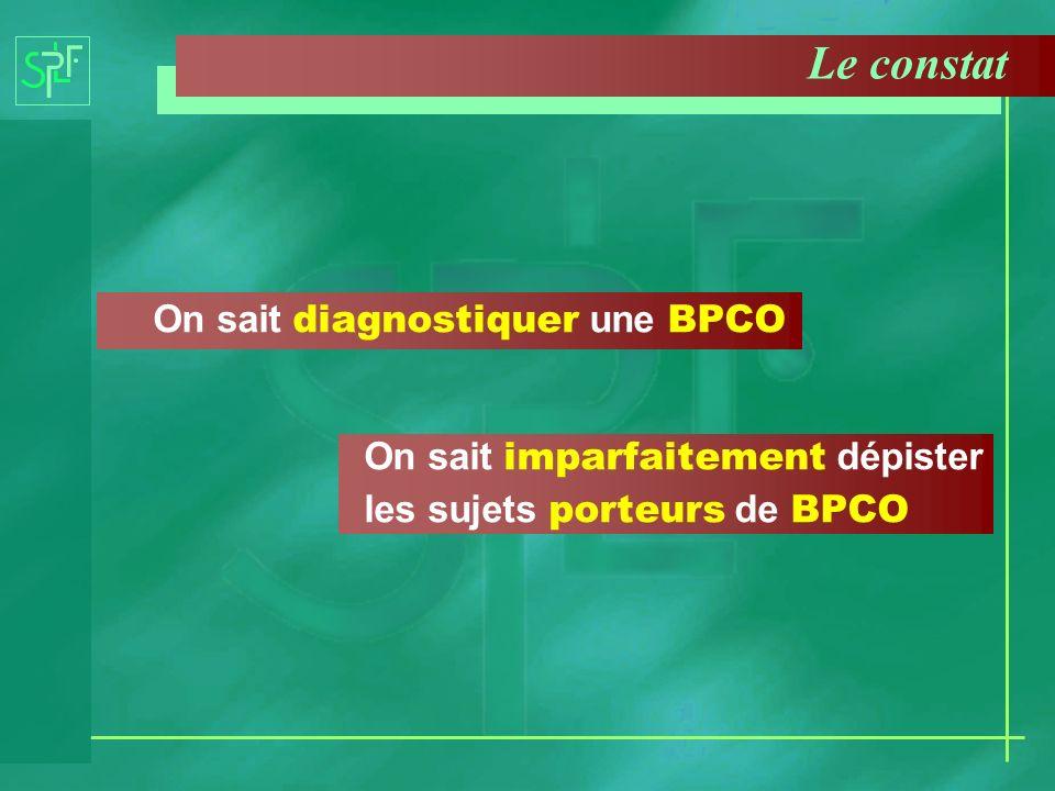 Le constat On sait diagnostiquer une BPCO