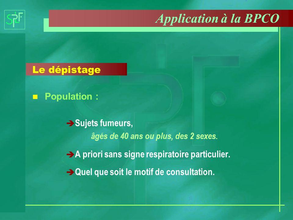 Application à la BPCO Le dépistage Population : Sujets fumeurs,