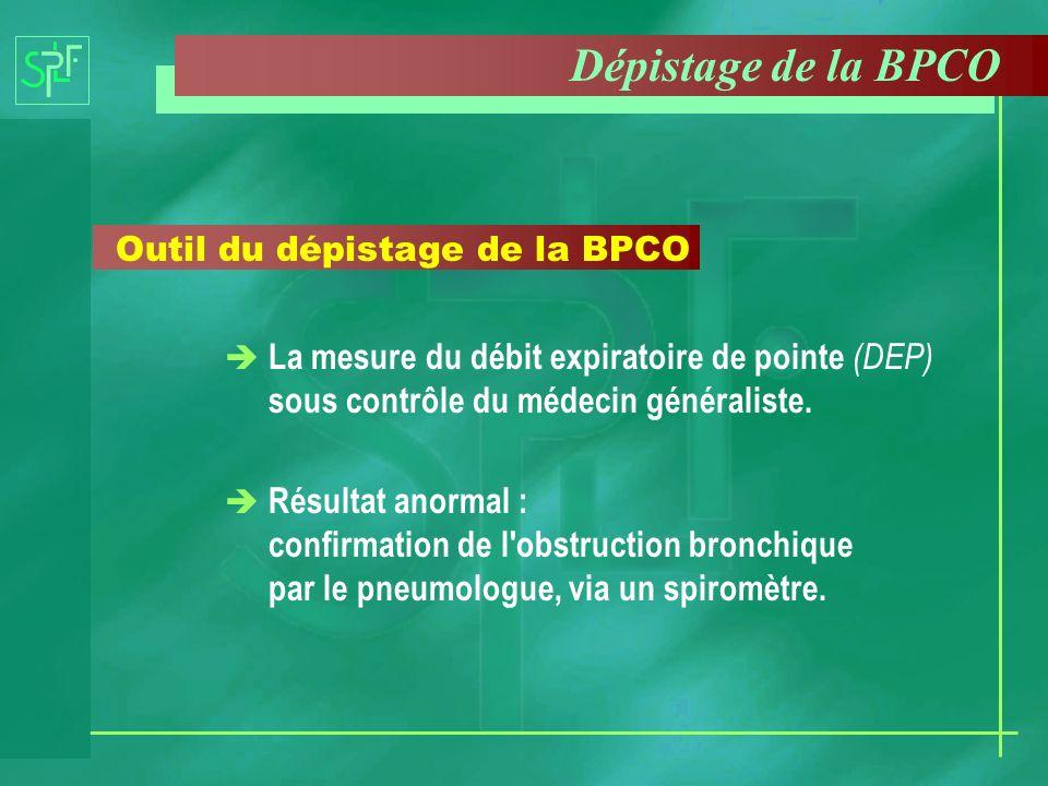 Dépistage de la BPCO Outil du dépistage de la BPCO. La mesure du débit expiratoire de pointe (DEP) sous contrôle du médecin généraliste.