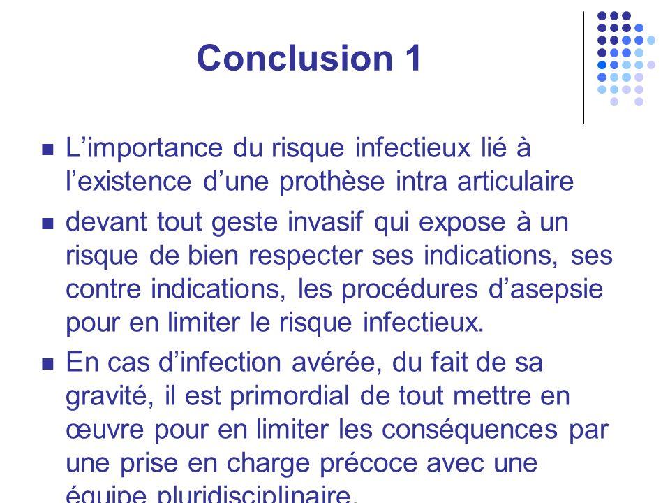 Conclusion 1 L'importance du risque infectieux lié à l'existence d'une prothèse intra articulaire.