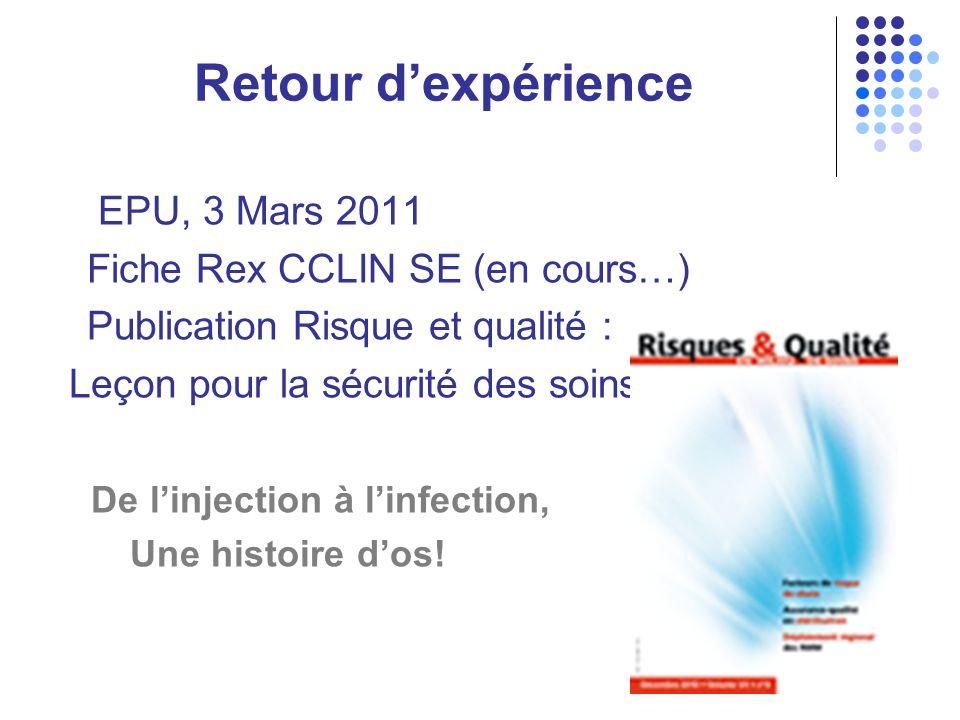 Retour d'expérience EPU, 3 Mars 2011 Fiche Rex CCLIN SE (en cours…)