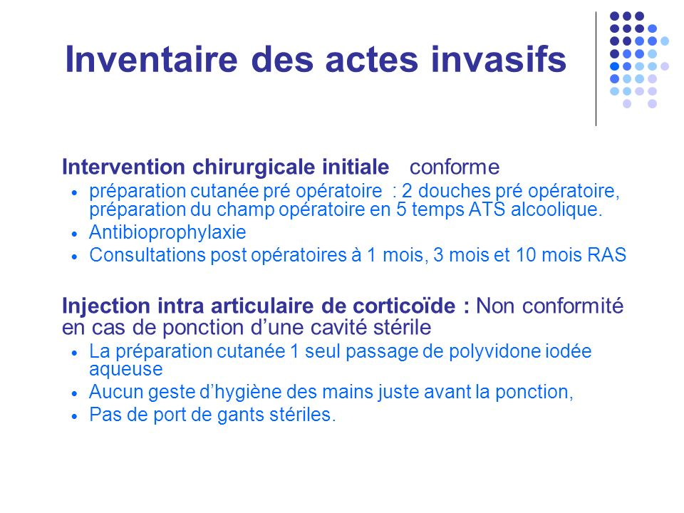 Inventaire des actes invasifs