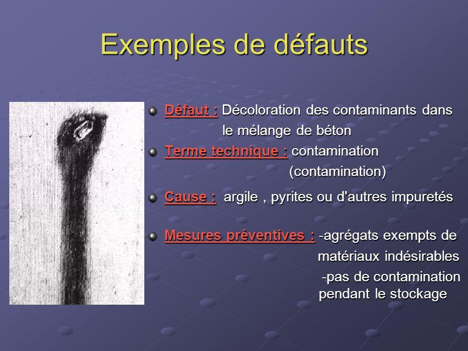 Exemples de défauts Défaut : Décoloration des contaminants dans