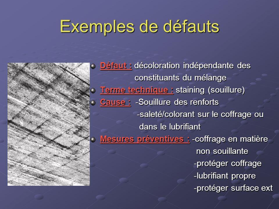 Exemples de défauts Défaut : décoloration indépendante des