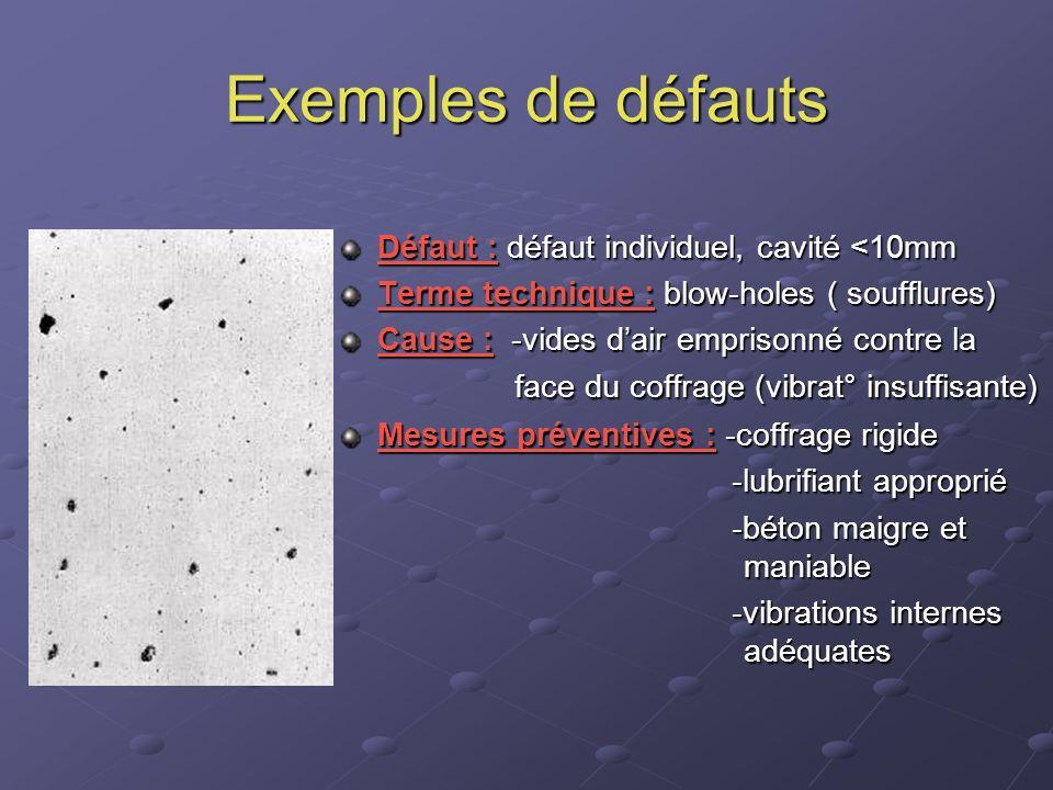 Exemples de défauts Défaut : défaut individuel, cavité <10mm