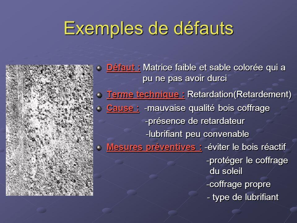 Exemples de défauts Défaut : Matrice faible et sable colorée qui a pu ne pas avoir durci.