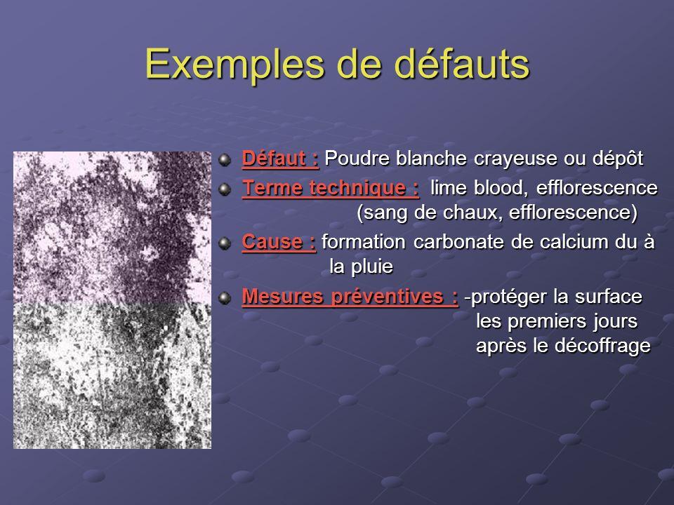 Exemples de défauts Défaut : Poudre blanche crayeuse ou dépôt