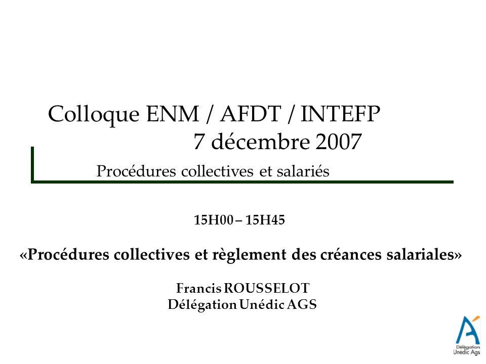 «Procédures collectives et règlement des créances salariales»