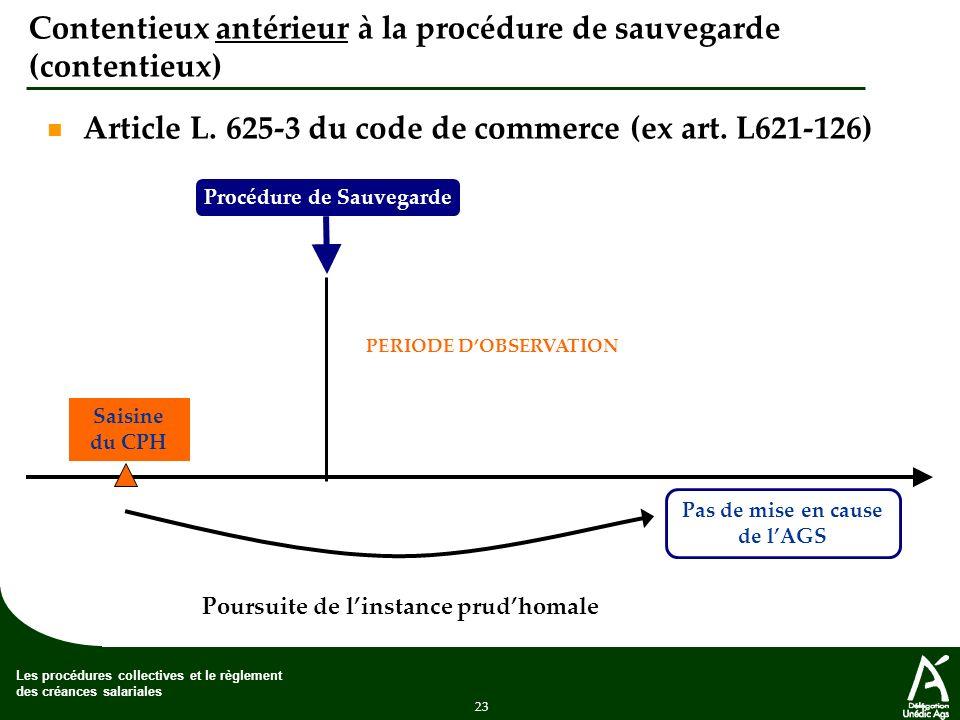 Contentieux antérieur à la procédure de sauvegarde (contentieux)