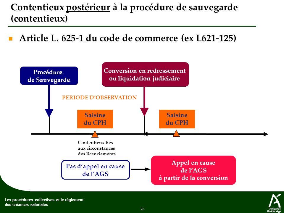 Contentieux postérieur à la procédure de sauvegarde (contentieux)