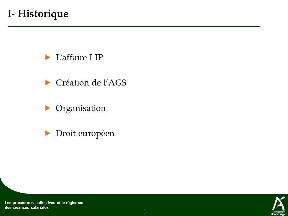 I- Historique  L'affaire LIP  Création de l'AGS  Organisation