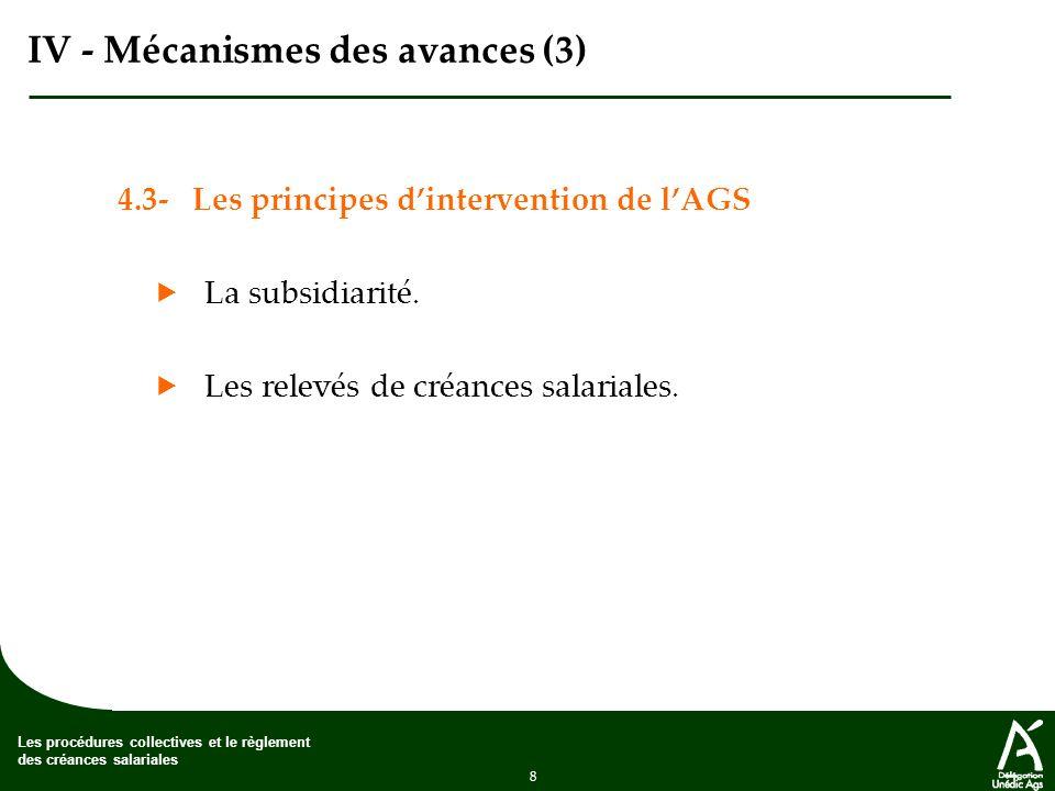 IV - Mécanismes des avances (3)