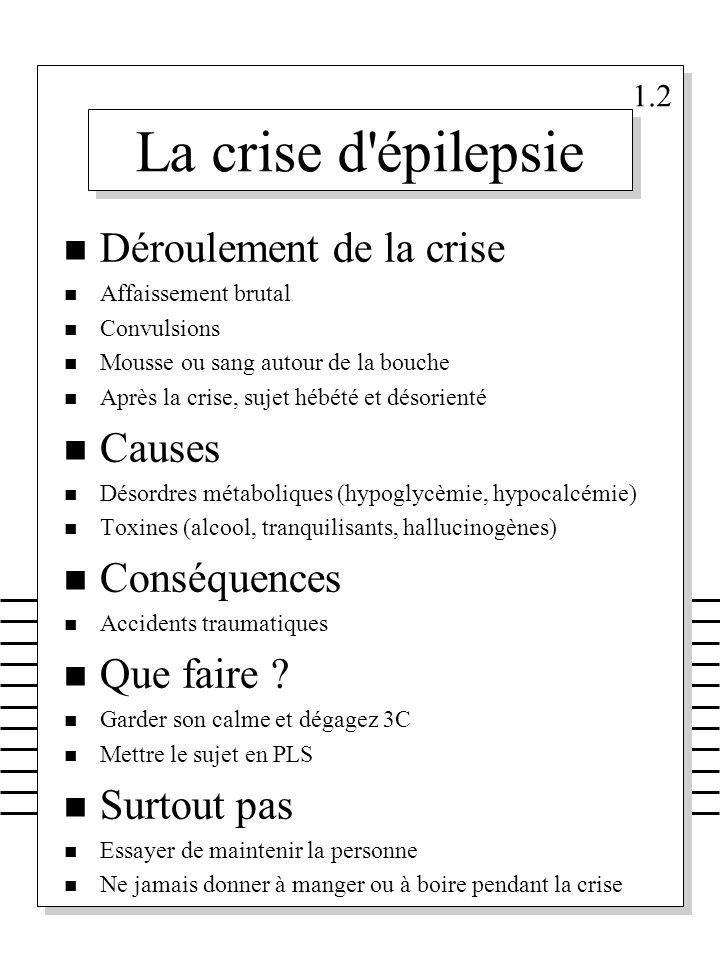 La crise d épilepsie Déroulement de la crise Causes Conséquences