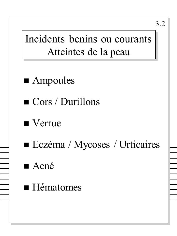 Incidents benins ou courants Atteintes de la peau