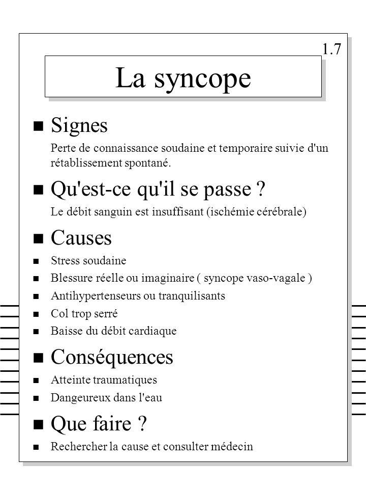 La syncope Signes Qu est-ce qu il se passe Causes Conséquences