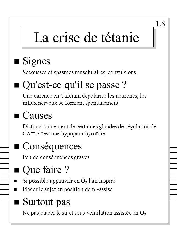 La crise de tétanie Signes Qu est-ce qu il se passe Causes