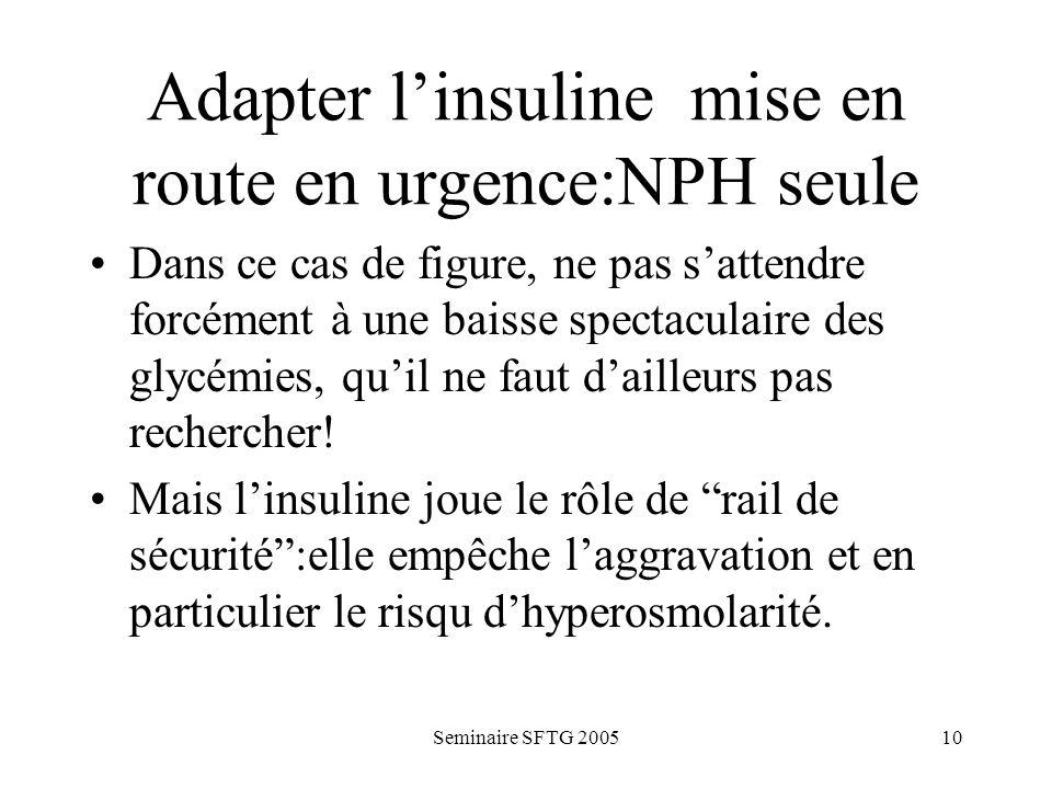 Adapter l'insuline mise en route en urgence:NPH seule