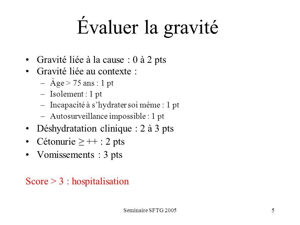 Évaluer la gravité Gravité liée à la cause : 0 à 2 pts