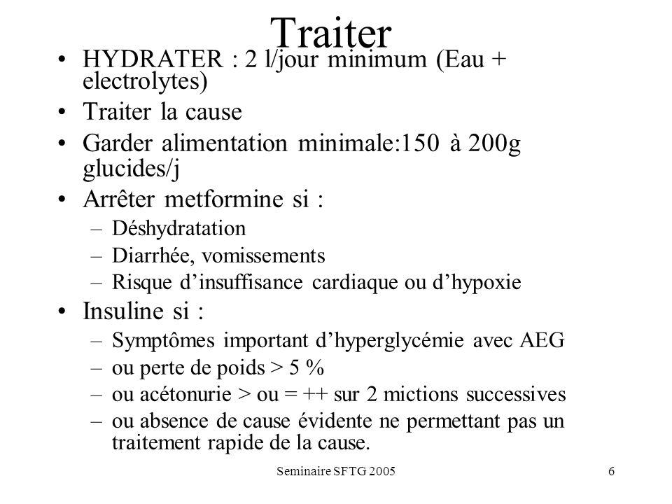 Traiter HYDRATER : 2 l/jour minimum (Eau + electrolytes)