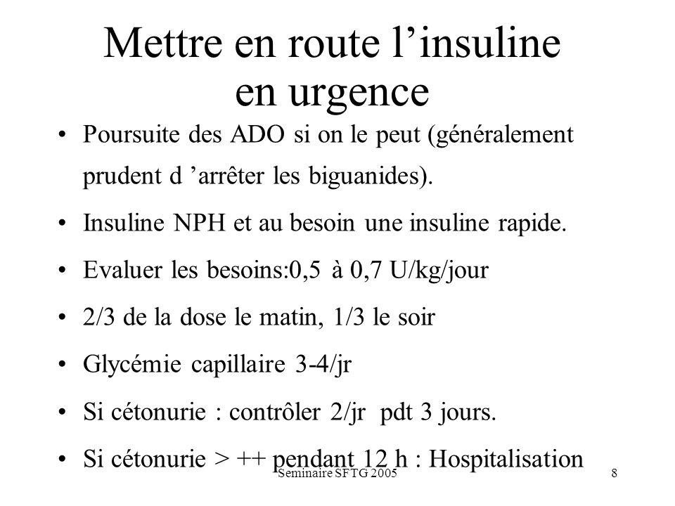 Mettre en route l'insuline en urgence